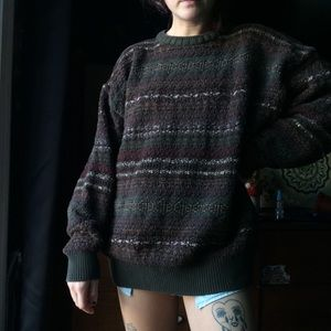 Earthy knit oversize grandpa sweater